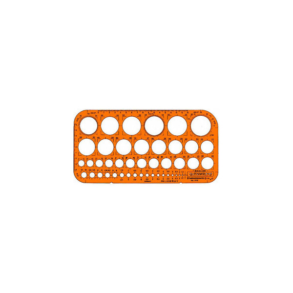 Standardgraph Schablone Kreis Ø 1 - 36mm 260 x 130 x 1,2mm orange