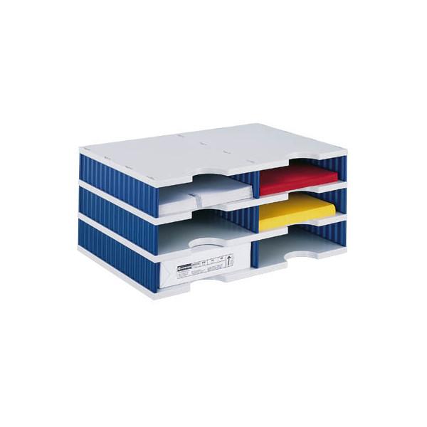 Styro Sortierstation doc mit 6 Fächern C4 grau/blau