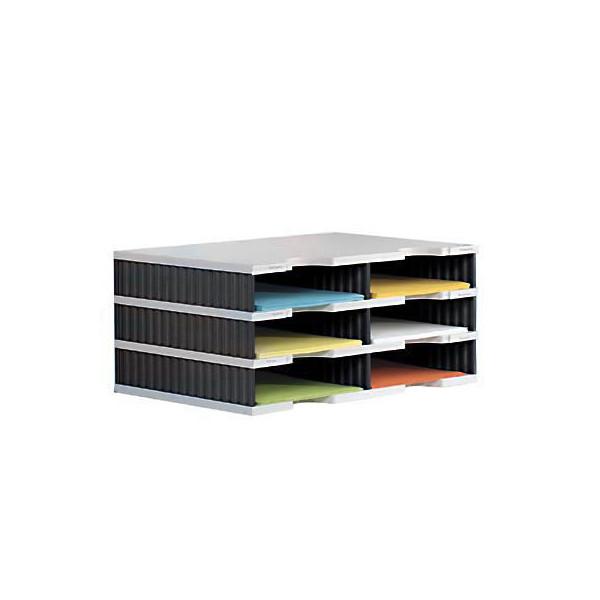 Styro Sortierstation doc mit 6 Fächern C4 grau/schwarz