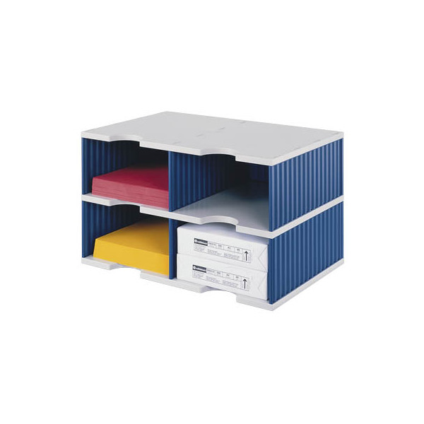 Styro Sortierstation doc Jumbo mit 4 Fächern C4 grau/blau Grundeinheit