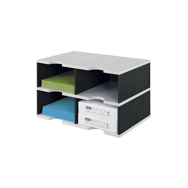 Styro Sortierstation doc Jumbo mit 4 Fächern C4 grau/schwarz Grundeinheit