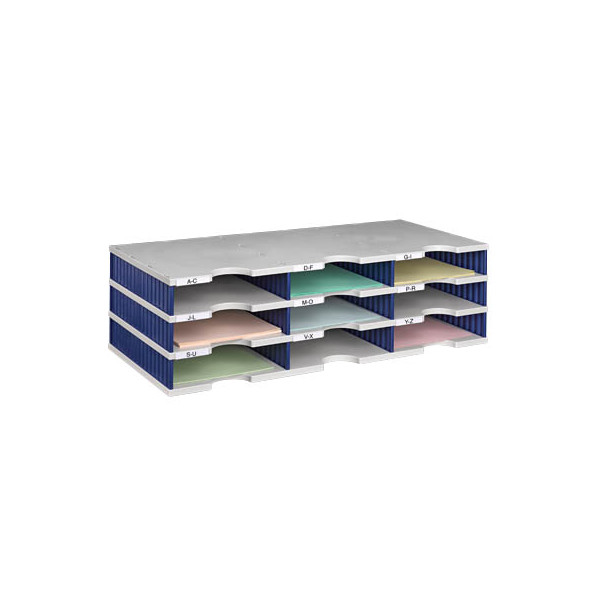 Styro Sortierstation doc mit 9 Fächern C4 grau/blau