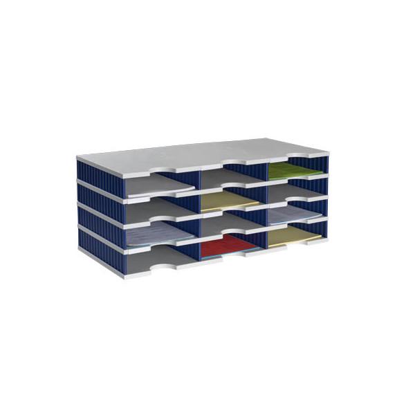 Styro Sortierstation doc mit 12 Fächern C4 grau/blau