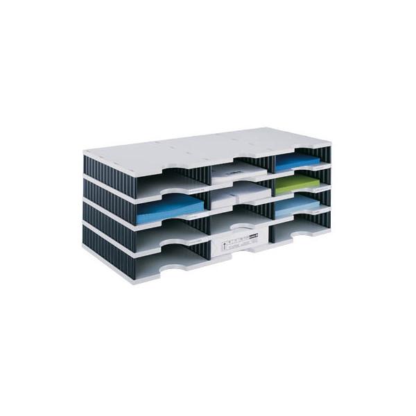 Styro Sortierstation doc mit 12 Fächern C4 grau/schwarz