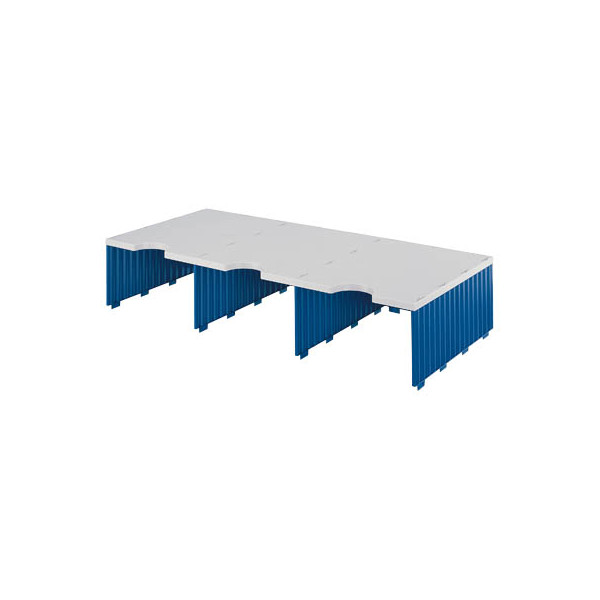 Styro Sortierstation doc Jumbo mit 3 Fächern C4 grau/blau Aufbaueinheit