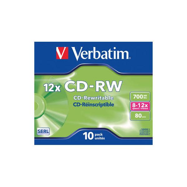 Verbatim CD-RW DataLifePlus 10x JC wiederbesch.700MG/80min 10 Stück