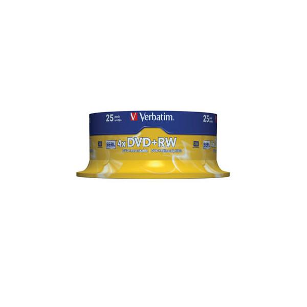 Verbatim DVD+RW 4x Spindel wiederbesch.4,7GB 25 Stück