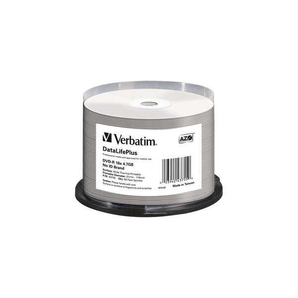 Verbatim DVD-R DataLifePlus 16x Spindel fĂĽr Thermo 4,7GB 50 StĂĽck