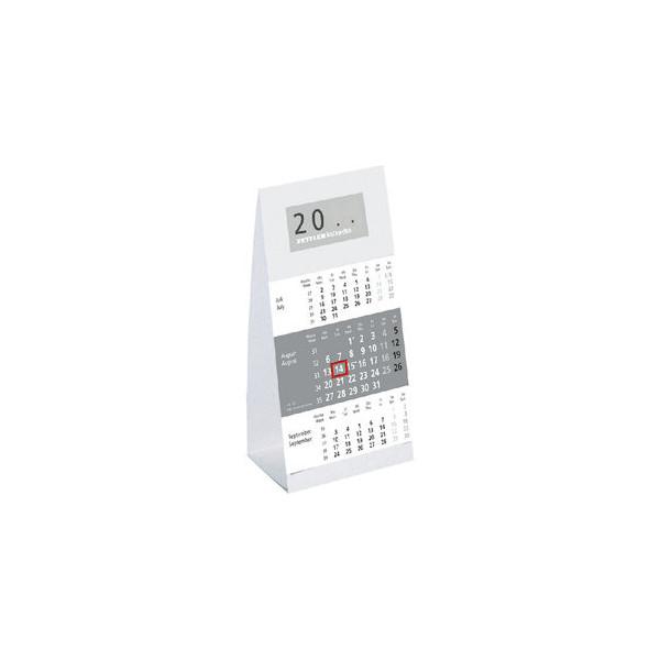 Zettler Dreimonats-Tischkalender 980 3Monate/1Seite grau 9,5 x 19,5 cm 2021