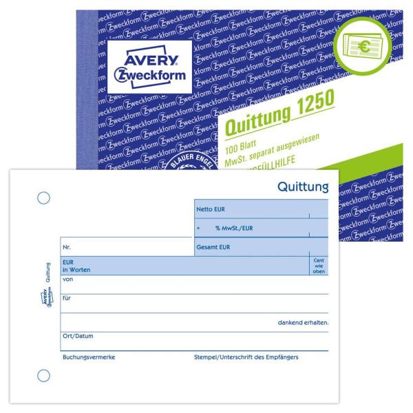 Zweckform Quittung 1250 mit MwSt. A6 100 Blatt