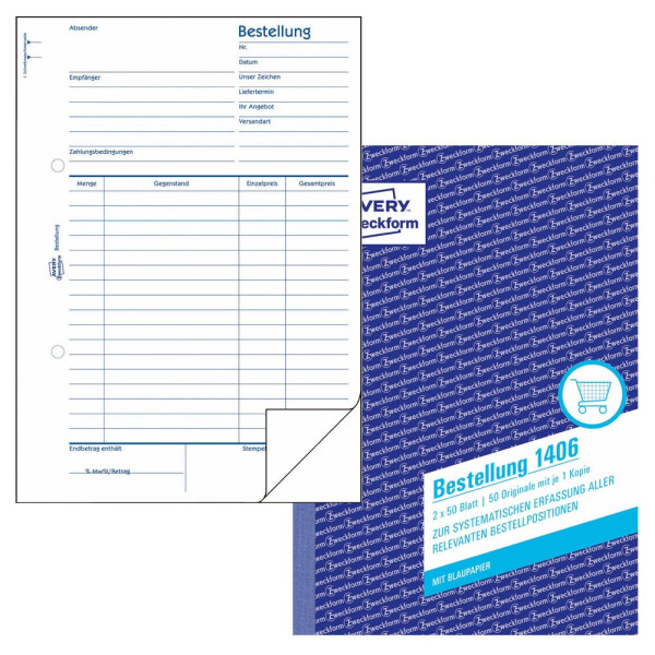 Zweckform Formular Bestellung A5 mit Blaupause 2x 50 Blatt