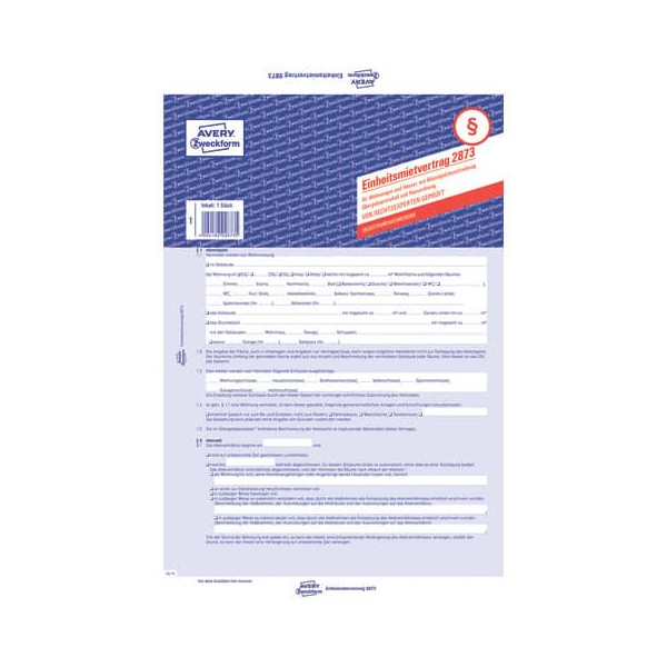 Zweckform Formular Einheitsmietvertrag A4 2fach selbstdurchschreibend