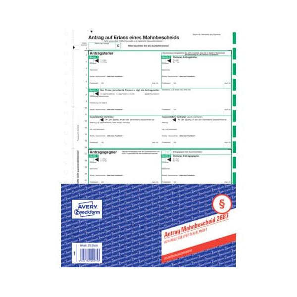 Zweckform Mahnbescheid für maschinelles Mahnverfahren A4 4 Blatt