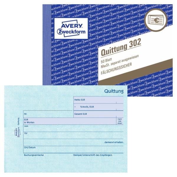 Zweckform Quittung 302 mit MwSt. A6 50 Blatt