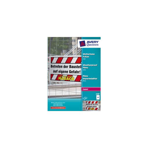 Zweckform Kopierfolie 3487, A4, für S/W-Laserdrucker, Farb-Laserdrucker, S/W-Kopierer, Farb-Kopierer, 0,12mm, wetterfest, weiß, 100 Blat