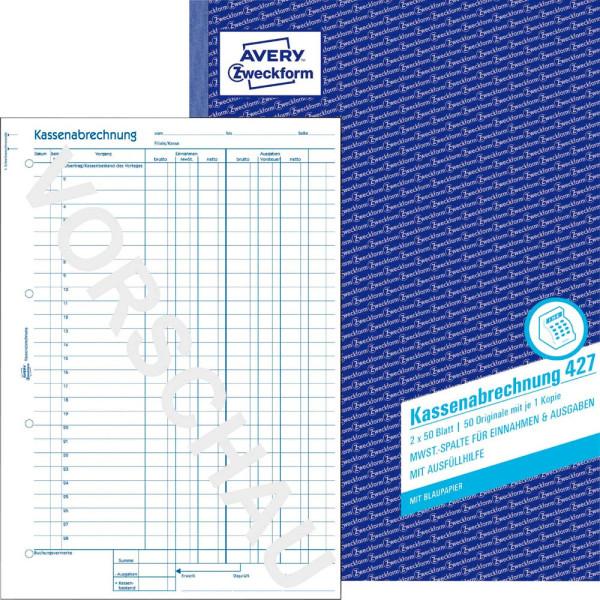 Zweckform Kassenabrechnung 427 A4 2x50 Blatt