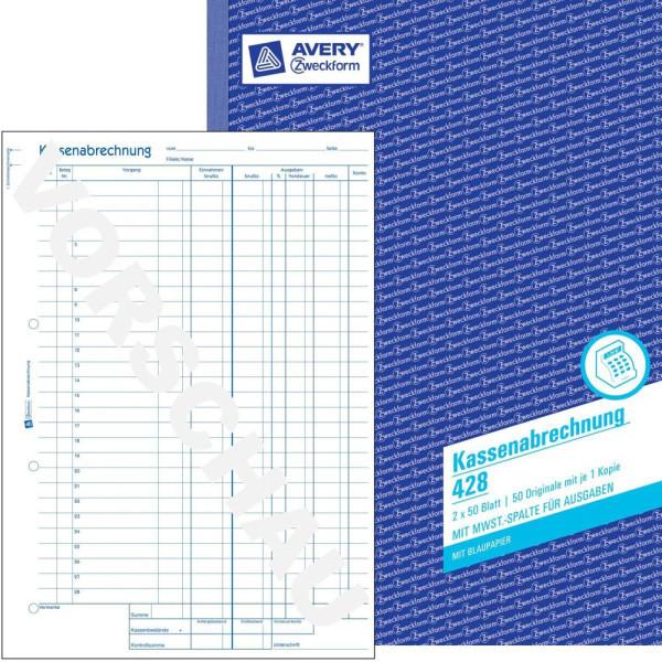 Zweckform Kassenabrechnung 428 A4 2x50 Blatt