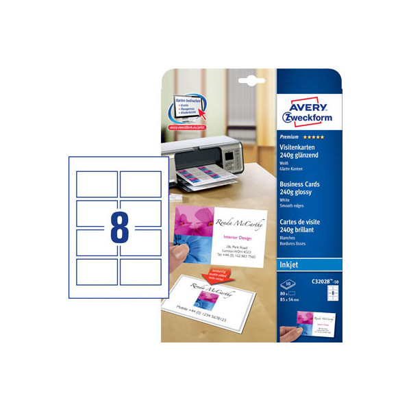 Zweckform C32028-10 Visitenkarten weiß 85 x 54 mm 250g 80 Stück