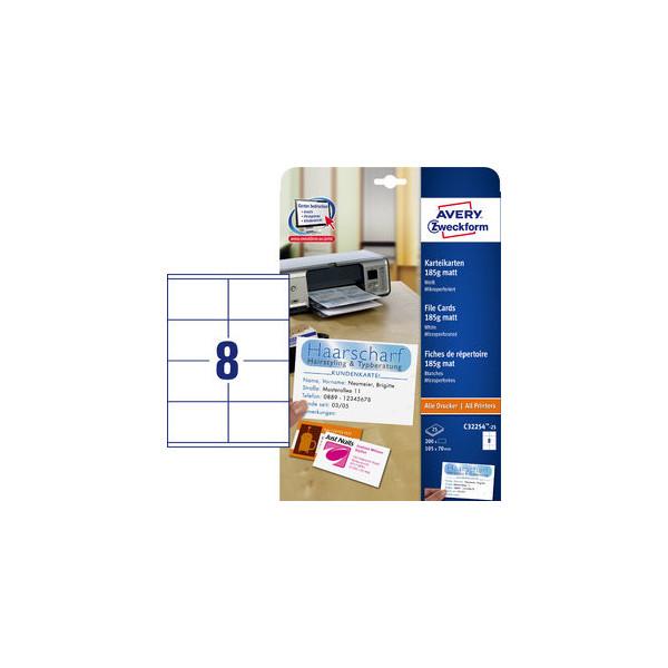Zweckform C32254-25 Karteikarten weiß matt 105 x 70 mm 185g 200 Stück