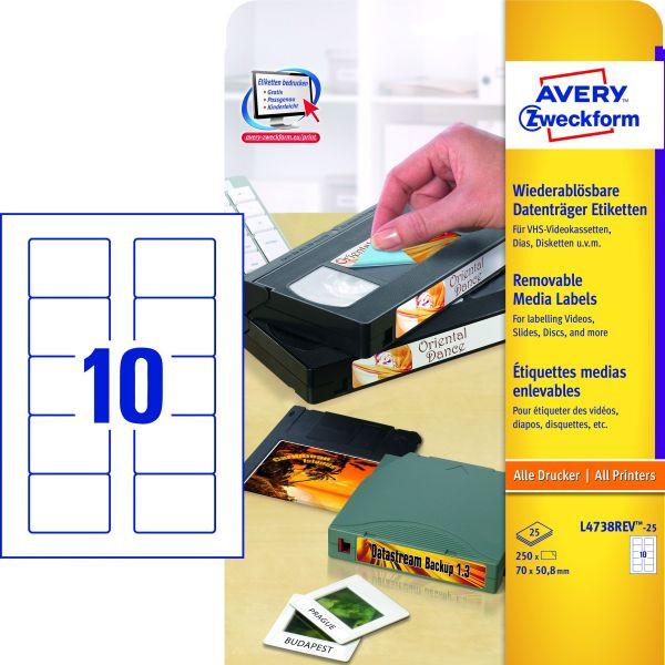 Zweckform Disketten Etiketten 3,5 Zoll L4738REV-25 70 x 50,8 mm weiß 250 Stück ablösbar