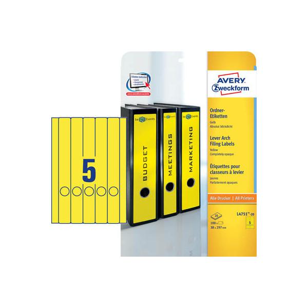 Zweckform Rückenschilder L4751-20 38 x 297 mm gelb zum aufkleben 100 Stück