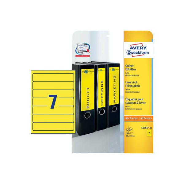 Zweckform Rückenschilder L4765-20 38 x 192 mm gelb zum aufkleben 140 Stück