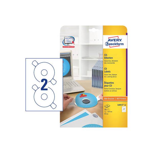 Zweckform L6015-25 CD DVD Etiketten Ø 117 mm weiss 50 Stück mit Zentrierhilfe