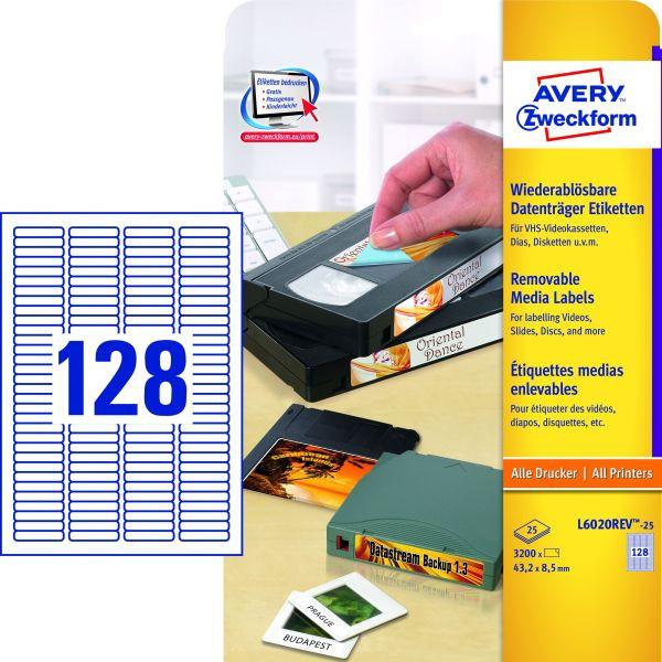 Zweckform Etiketten L6020REV-25 43,2 x 8,5 mm weiß wiederablösbar Mini DV, VHS-C, DAT