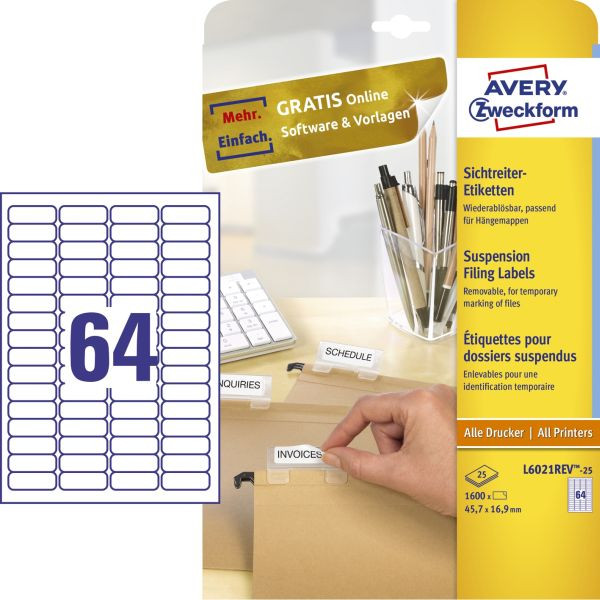 Zweckform Etiketten L6021REV-25 45.7 x 16.9 mm weiß 1600 Stück wiederablösbar für Sichtreiter