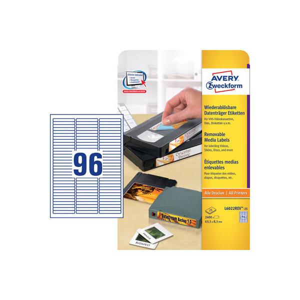 Zweckform Etiketten L6022REV-25 63,5 x 8,5 mm weiß für Datenträger Hi8 8mm