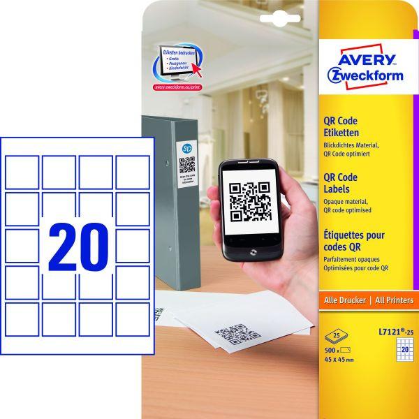 Zweckform Etiketten für QR Codes weiß 45 x 45mm 500 Stück