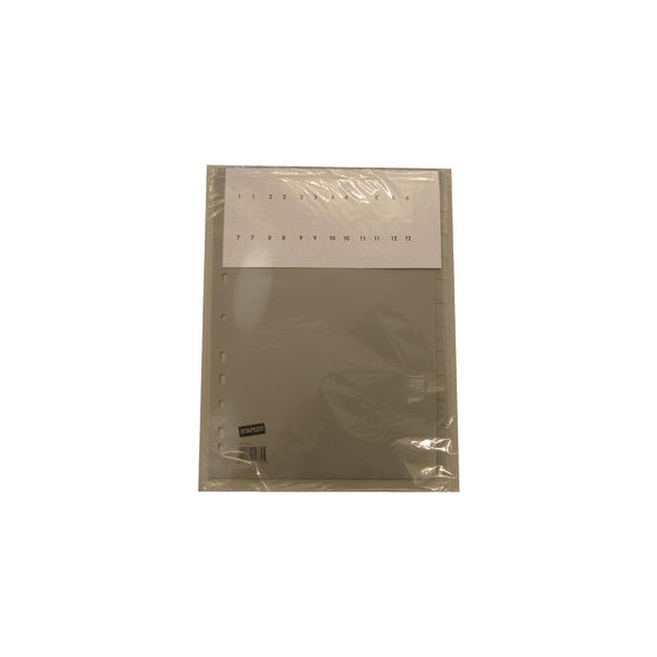 Register blanko A4 0,12mm graue Taben 12-teilig Fenstertabe