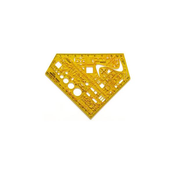 Aristo Schulwinkel Elektro Schablone gelb 155x155x1,3 0,3-0,5