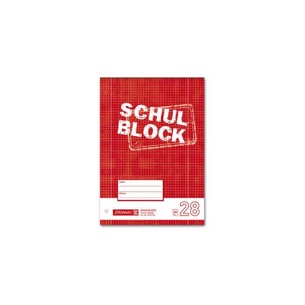 Brunnen Schulblock A4 kariert 50 Bl. weiß 4-f.gel. Lin.28