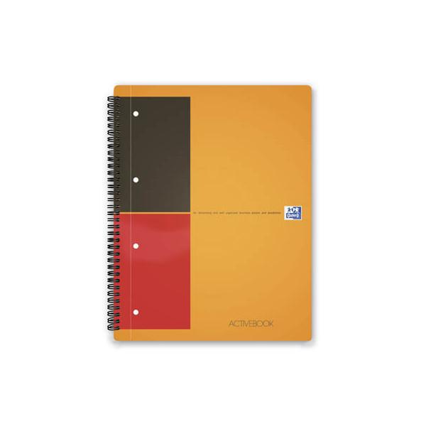 Oxford Collegeblock Activebook 100102994, A4 liniert, 80g 80 Blatt, 4-fach-Lochung, mit Register