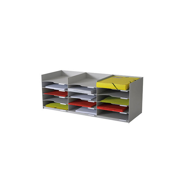 Paperflow Formularbox 15 Fächer A4 PS grau 857x313x327