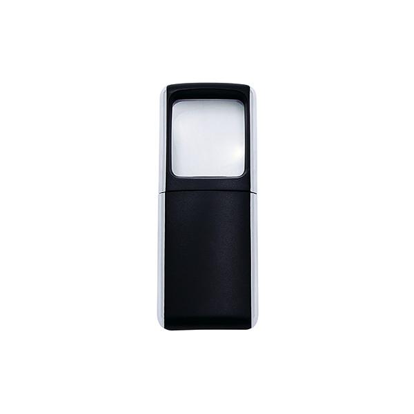 Wedo Rechtecklupe 3-fach m.LED schwarz m.Batt.