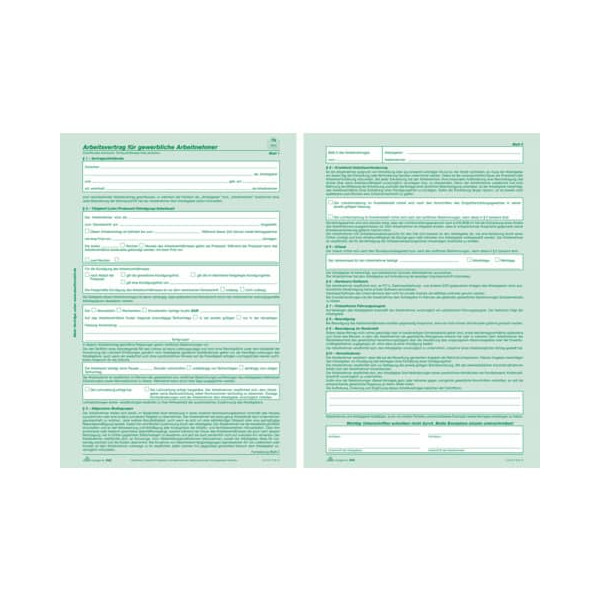 RNK Arbeitsvertrag A4 SD 2x2Bl 25St