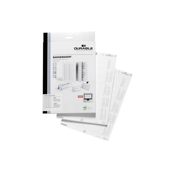 DURABLE Einsteckschild 142302 30x65mm weiß 360 St./Pack.