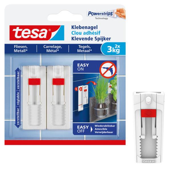 tesa Klebenagel 77764 für Fliesen und Metall max 3kg weiß 2 Stück
