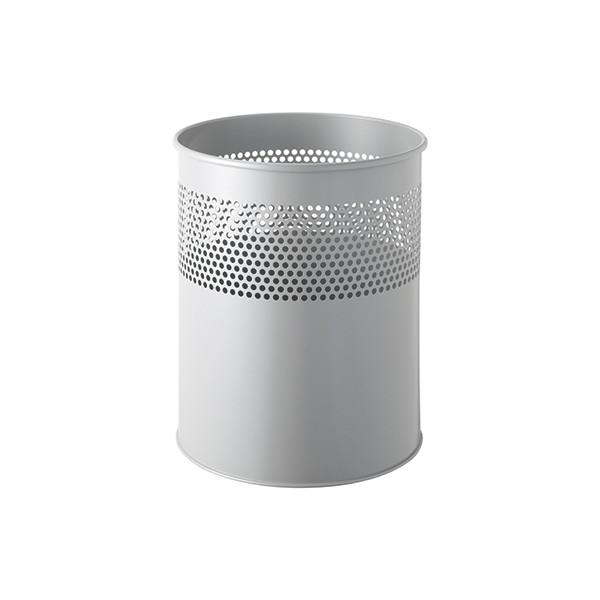 Helit Metall-Papierkorb 15 Liter grau