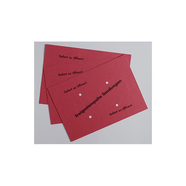Freistempler B4 ohne Fenster nassklebend 4 Löcher 90g rot 500 Stück 327220430
