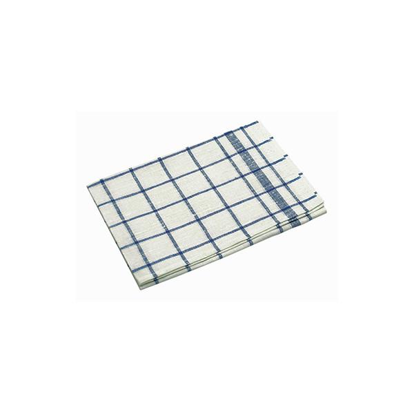 Geschirrhandtuch 50x70cm faserig kariert weiß/blau