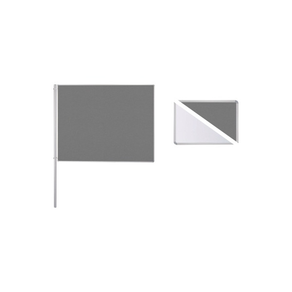 Ultradex Anbaustellwand 747628 150x120cm Filz/Whiteboard ws/gr