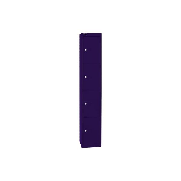 Bisley Schließfachschrank, Metall, 1 Abteil mit 4 Fächern, abschließbar, 30,5x180,2cm (BxH), blau