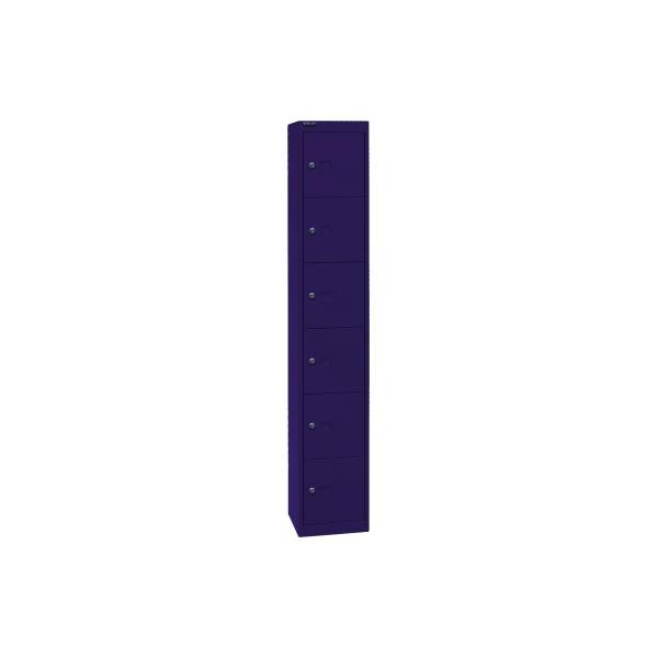 Bisley Schließfachschrank, Metall, 1 Abteil mit 6 Fächern, abschließbar, 30,5x180,2cm (BxH), blau