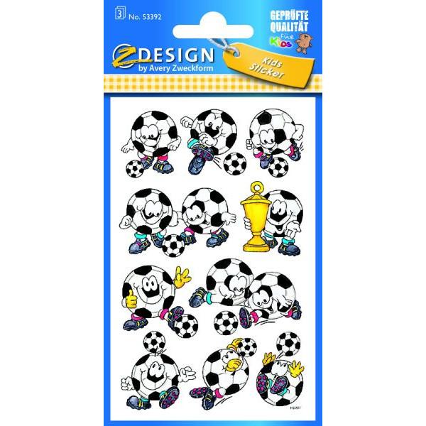Zweckform Z-Design 53392, Kinder Sticker, Fußbälle, 3 Bogen/30 Sticker
