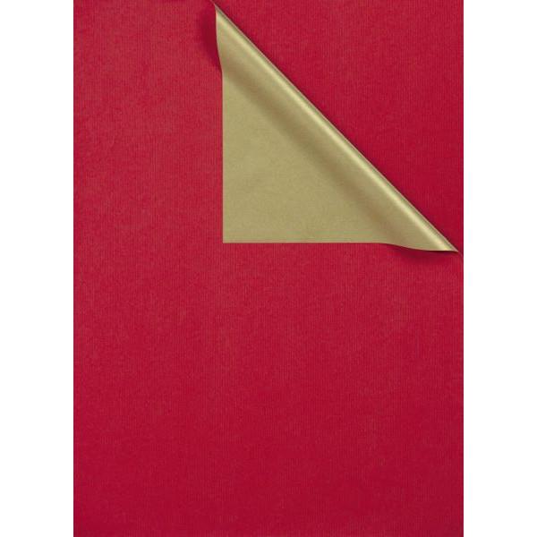 ZÖWIE Geschenkpapier 2-farbig rot/gold 50cm x 100m