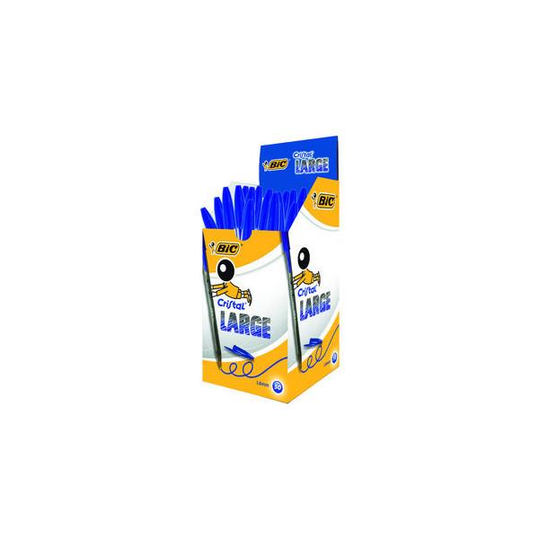 Bic Kugelschreiber Cristal grau/blau Mine 0,6mm Schreibfarbe blau 50 Stück