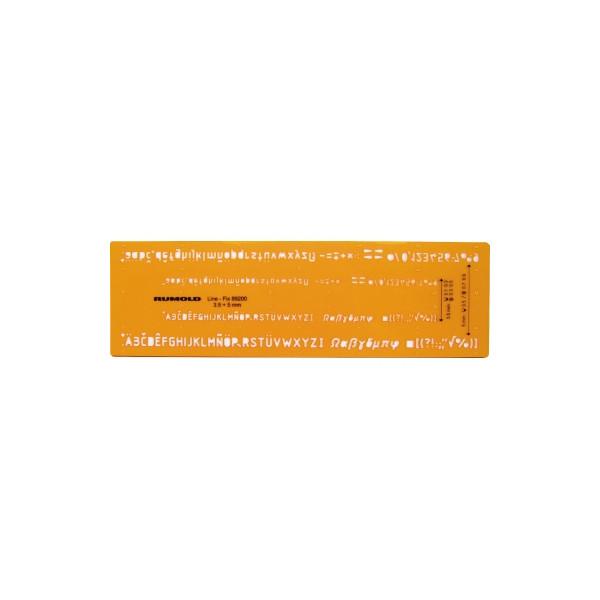 RUMOLD Schriftschablone, Schrifthöhe 3,5mm und 5mm, für Fineliner und